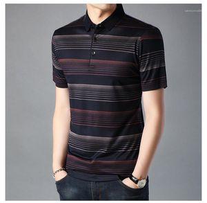 Renk Polo Bluz Erkek Giyim Erkek Tasarımcı tişörtleri Aşağı Yaka Casual Erkek Tişörtü Çizgili baskı kontrastını çevirin