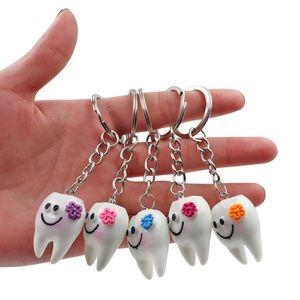 1pcs Dental Teeth Shape Model Simulation Tooth Key Chain Fashion Cartoon Lovely Girls Gift Pendant Teeth Key Chain