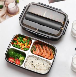 New Housekeeping 304 Lunch aço inoxidável Caixa Novo estilo japonês Compartimento Bento Box Kitchen Leakproof Food Container Para Enviar Louça