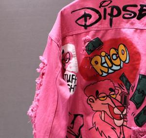 Moda-Donna Giacca di jeans Moda Nuova personalità Stampa Graffiti Fori strappati Cappotto allentato Casual Jean Cappotto Abbigliamento casual femminile Capispalla