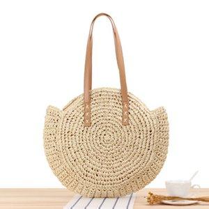 Juli DES SONG Mode Stroh-Beutel-Frauen-Schulter-Strand-Tasche Runde Rattan Stroh Handgemachte großer Kapazitäts-Ausschnitt Umhängetasche