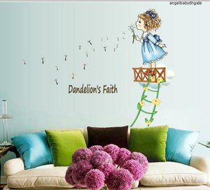 Rooms Ay7196 For Dandelion Girl Kids Wall Stickers Decor Cartoon Diy Removable Pvc Sticker Home Decoration