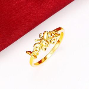 MGFam (296R) حلوة عسل النحل خواتم للنساء فتاة أصدقاء الأم 24 كيلو الذهب الخالص مطلي الأزياء الحشرات مجوهرات