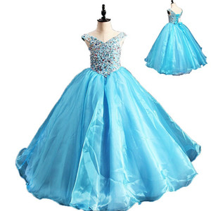 Sparkly Blue Beadings Flower Girl Dresses For Weddings First Communion Girl Dresses New Kids Pageant Evening Gowns
