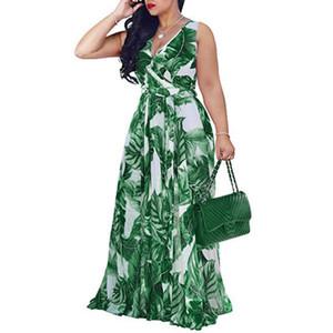 abito estivo ropa mujer vestidos de fiesta de noche maxi vestito Plus Size scollo a V Abbigliamento Donna Sling stampa # 15