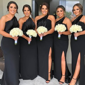 Plus Szie Black One Shoulder Bridesmaid Dressess vestidos de damas de hono Sheath Prom Dresses Front Split Wedding Guest Dress