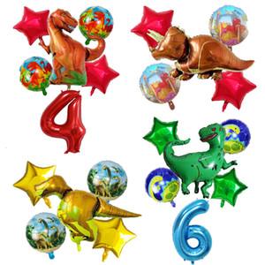 6PCS الديناصور البالونات احباط 30 بوصة عدد الطفل حفلة عيد الميلاد زينة الجوراسي عالم الحيوان لعب الاطفال منطاد الهواء بالجملة