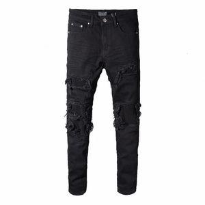 Miri ingrosso-rappresenti i pantaloni del progettista dell'abbigliamento hanno distrutto i jeans strappati degli uomini magri del biker diritto del denim sottile degli uomini