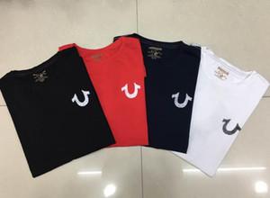 19SS nouveaux Etats-Unis Rouge Noir Blanc Hommes Robin Jeans True T-shirt ras avec des ailes Real American Jeans Mtorcycle club Slim manches courtes t2 tee