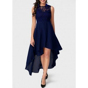 2019 European and American summer new lace sleeveless stitching irregular chiffon dress hot sale
