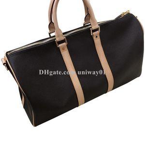cuero genuino bolso de diseñador de la marca de alta calidad de mano grande grande número de serie de casos bolsa de viaje de lona mujer mujeres hombre