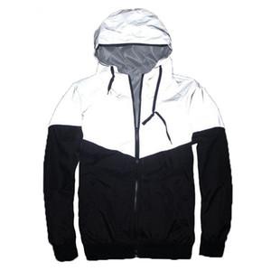 Mens riflettente Windbreaker 3M Reflective Jacket Patchwork Hip Hop WinRunner impermeabili Top Windbreaker Giacche Maschio Cappotti