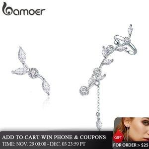 Pendientes de plata esterlina genuina 925 Plum Branch flor floreciente BAMOER para la Mujer Borrar CZ Plata V191128 SCE429 joyería