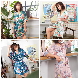 2019 New design women Sleepwear summer floral Peacock Printed pajamas Sexy lounge Silk Simulated Sleeve Underwear Home Clothing