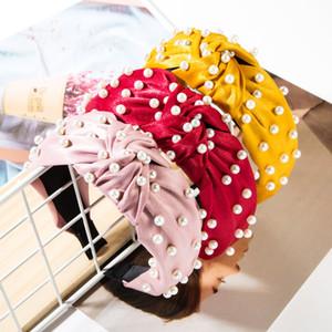 Vintage Bands Braid Pearl Jeweled Стиль волос для женщин Девушки Ткань Твердая Hairband оголовье аксессуары для волос