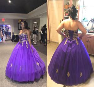 2020 vestidos de quinceañera Sweet Heart parte posterior del corsé del oro Apliques largo formal del partido vestidos de noche para Sweet 15 Vestidos de quinceañera