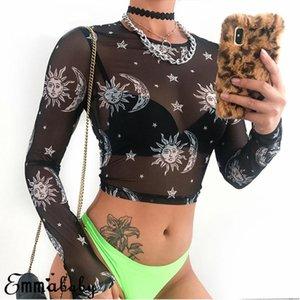 2019 المرأة مثير المتناثرة شبكة بلايز كم طويل انظر من خلال T قميص شفاف صن مون ستار طباعة تي شيرت Femininas كلوبوير