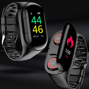 M1 TWS 5.0 Auricolare Bluetooth IP67 intelligente Bracciale Orologio da uomo Heart Rate Monitor intelligente Wristband Con Wireless Headset Per Lo Sport