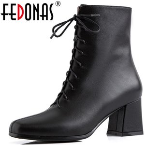 FEDONAS Genuine Leather Women Short Boots High Heels Round Toe Wedding Party Shoes Concise Elegant Cross-Tied Basic Ladies Boots