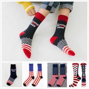 Trump 2020 regalos Calcetines Rayas de las estrellas del fútbol Calcetines Neutro Donald Trump Presidente Calcetines impresión del partido de DHL XD22311