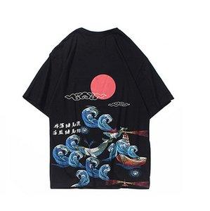 Hip Hop uomini della maglietta 2020 Streetwear cinese Kanji Saluto Stampa maglietta Estate manica corta Harajuku T-shirt in cotone supera i T Nero
