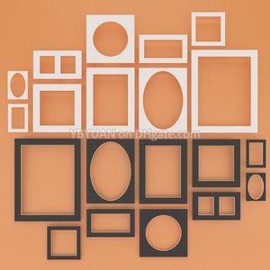 Marco de fotos Mat Blanco / Negro Papel Passe-Partouts 12/14/16/20 pulgadas Rectángulo Cuadrado Oval monta imagen Montaje matboard superficie texturizada