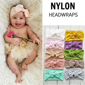 18 Colors Turban 2019 New Posh Girls Nylon Wide Headwraps Baby Headband Bowknot Solid Children Infants Headwear Girl Hair Accessories
