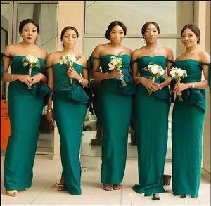 Hunter Green African Mermaid Abiti da damigella d'onore Off spalla pavimento lunghezza Tie Ruffles Garden Beach Paese Wedding Guest Dress Plus Size