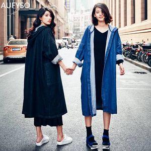 AUFYSO Denim-Graben-Mantel für Frauen 2019 Vintage-beiläufigen losen Taschen-Langarm mit Kapuze langen Trenchcoat Manteau femme C55