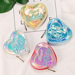 Moeda bolsa mulheres coração formas Laser couro Zipper bolsa de embreagem Bags Phone Bag