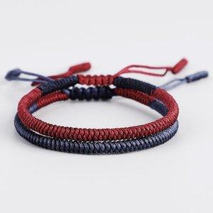 2pcs \ set Multi Farbe tibetischen buddhistischen handgefertigten Knoten Glück Seil Armband Mönche gesegnet Armbänder Armreifen Größe einstellbar