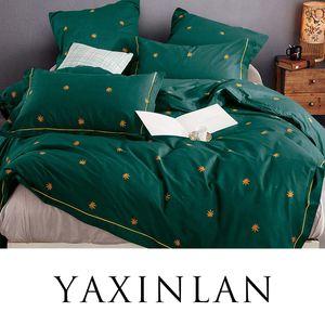 Conjunto de cama YAXINLAN cor Pura Puro algodão Planta flores Frescos Padrões folha de Cama colcha fronha 4-7 pcs