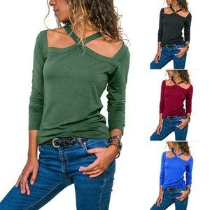 Frauen Slim Fit Neck T-Shirt Frühling-beiläufiges Normallack lange Ärmel Mode-T-Shirt Famale Designer-T-Shirts