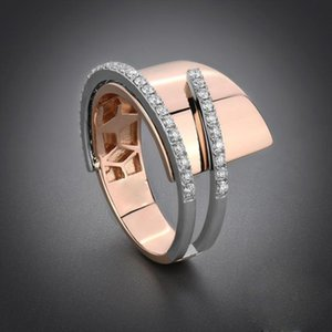 Gorgeous Two Tone Filled Rhinestone Wedding Rings Charms Jewelry Rose Gold Mixed Color Geometric Finger Rings