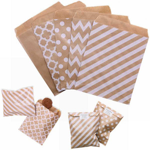 25 50Pcs 18*13cm Kraft Paper Bags Candy Cookies Pack Wave Stripe Dot Gift Bag Wedding Birthday Favor Bag Party Wrapping Supplies