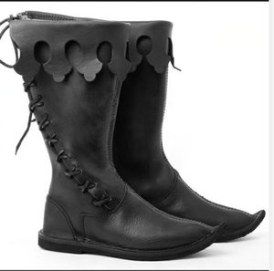 Hot Sale-New Halloween Herren Boot Big Size US13 arbeiten Weinlese-Motorrad-Boot Cosplay Schuhe Männer Chirstmas Geschenk Winter-Schnee-Aufladung