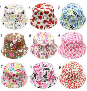 mischen Sie 30 Farben koreanische nette Kinderfischerhut Sonnenschein-beiläufige Entwerferkappenkinderblume, die Baumwollwannenhut-Babyhüte gepasst wurde, hat Hut gepasst