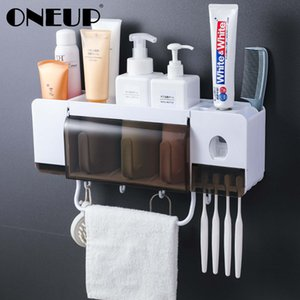 Oneup Toothbrush Holder Toothpaste Squeezer Dispenser Bathroom Accessories Sets 5 Pcs Bathroom Storage Box Case Household Items T190708