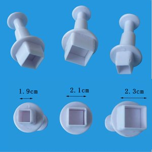 1Set 3PCS Lovely Square Plunger Cutter Mold Fondant Cake Decorating Cake Tool Sugarcraft Kitchen Accessories
