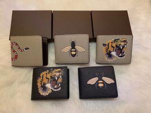 Hochwertige Männer Tier Short-Mappen-Leder schwarze Schlange Tiger Biene Wallets Frauen lange Art Portemonnaie-Kartenhalter mit Geschenk-Box