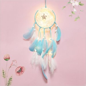 20 lampe Dream Catcher Net Led Sterne Lichterketten DIY Windspiele Natürliche Federn Wandbehang Decor DreamCatcher lampe string
