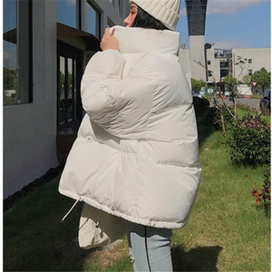 Women Winter Warm Thick Pockets Parkas Oversize Loose Soild Wadded Jackets Solid Female Casual Bread Coat