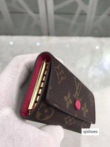 Top quality women original box purses luxury real leather muicolor short wallet Card holder classic zipper pocket designer wallets