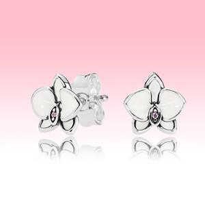 Blanc Magnolia Stud Femmes d'été Bijoux pour voir Pandora Argent 925 fleur Boucles d'oreilles avec coffret d'origine