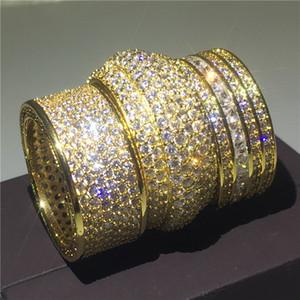 영원한 손가락 반지 옐로 골드 채워진 포장 마차 다이아몬드 Cz 라운드 결혼 반지 여성을위한 결혼 반지 보석 보석 선물