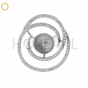 Circle Round Zircons Pave 925 Sterling Silver Pendant DIY Jewelry Findings for Big Pearl 5 Pieces