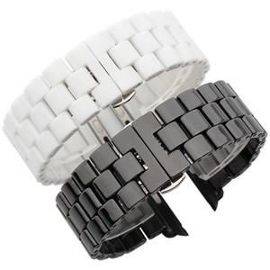 Correa de reloj de cerámica de lujo para Apple Watch 42mm 44mm Mariposa Hebilla Cadena Pulsera de estilo para iWatch Series 4 3 2 1 Correa
