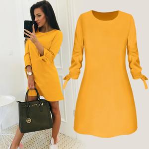 2019 Frühling-neue Art und Weise Normallack-Kleid-beiläufiges O-Ansatz lose Kleider 3/4 Hülsen-Bogen-eleganter Strand Female Vestidos Plus Size