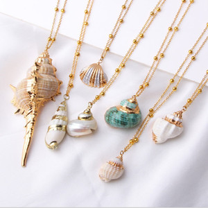 New Boho Shell Necklace Women Gold Link Chain Natural Shell Necklace Female Charm Seashell Summer Beach Style Jewelry Bohemian