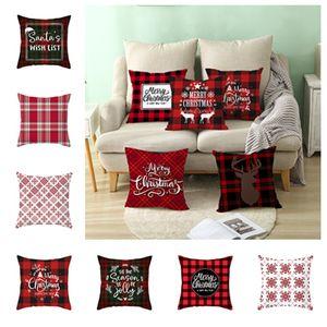 Almohada caliente de Navidad ciervos Caso manera de la impresión de verificación roja Estilo fundas de almohada cubiertas del amortiguador de la decoración de Navidad de cama SuppliesT2I5579
